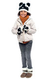 Little fashionable girl in warm clothes Stock Photos