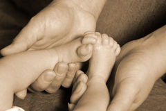 Little Feet in Big Hands. Family Royalty Free Stock Image
