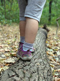 Little feet are on the tree. Baby soft shoes and gray shorts. In the background forest. Around the tree with yellow leaves . Autumn Royalty Free Stock Images