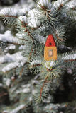 Little felted house. Christmat tree and little house Royalty Free Stock Photo