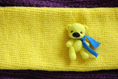 Little Felting Wool Toy Yellow Bear. Little Wool Toy Yellow Bear Stock Images