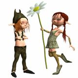 Little Female and Male Troll Royalty Free Stock Photography