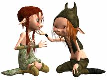Little Female and Male Troll Royalty Free Stock Images