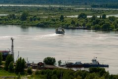 Little Ferry Is Transported Through Irtysh River Stock Photos