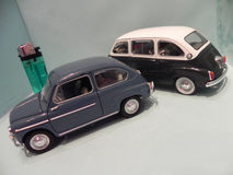 Little Fiat 600. Trieste, TS, Italy - March 15, 2015: My miniature of an old Fiat 600 together its sister Fiat 600 Multipla, two mythical cars produced in Italy royalty free stock photo