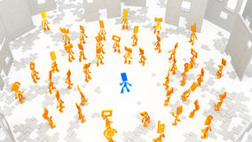 Little Figures, Stand Out. Small flat symbolic 3d figures, over white, isolated Stock Photos