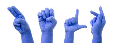 Little Finger Spelling the Alphabet in American Sign Language (A. SL). word is Help stock photos