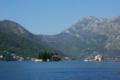 Little fiord of Kotor in Montenegro. Ancient buildings and historical walls of biggest fiord in Afriatic sea, Kotor royalty free stock photo