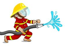 Little fireman in action - vector illustration. A small fireman holding a fire hose from which water flows - ready to extinguish fire - cartoon vector graphic Royalty Free Stock Photography