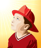Little Fireman. An illustration of a little boy wearing a firemans hat Stock Photography