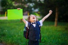 The little first grader is very angry Royalty Free Stock Images