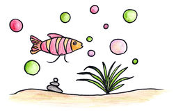 Little fish. In a fish tank with a plant, bubbles and pebbles illustration Royalty Free Stock Photos