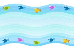 Little Fish Border Background. A background border feauring blue waves and little fish swimming Royalty Free Stock Photo