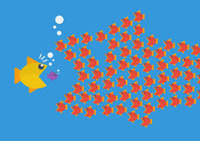 Little fish eat big fish. Business teamwork concept Stock Image