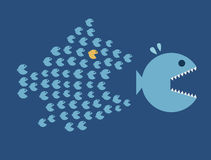 Little Fish Eat Big Fish. Unity, Teamwork, Organiz. E. Economy or Business concept Stock Photography