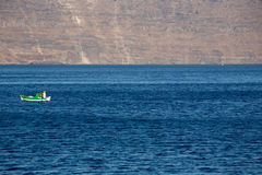 Little fisher boat on the aegean sea Royalty Free Stock Photo