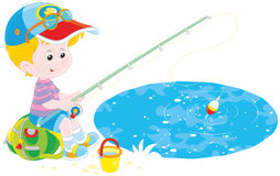 Little fisher on a pond. Vector illustration of a little boy sitting on his backpack and fishing in a small pond Stock Images