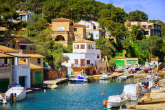 Little fishermen town on Mallorca island in Mediterranean sea, S. Cala Figuera, attractive little town on southern coast of Mallorca island, Spain Royalty Free Stock Photos