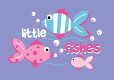 Little fishes. Vector illustration of fish swimming Stock Photos