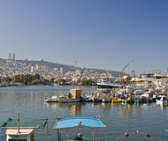 Little fishing boats. Hakishon harbor-marina stock image