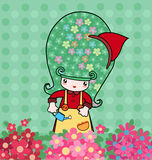Little florist. Illustration of little cute girl with beautiful flowers Royalty Free Stock Images
