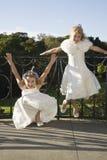 Little Flower Girls Waiting For Wedding Ceremony Royalty Free Stock Photo