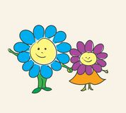 Little flowers. Little boy and girl smiling flowers cartoon image Stock Photography