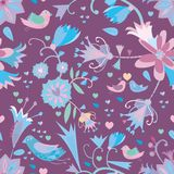 Little flowers seamless pattern with birds. Royalty Free Stock Image