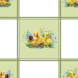 Little fluffy cute watercolor ducklings, chickens and hares with eggs seamless pattern on white background vector illustration Stock Photo