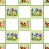 Little fluffy cute watercolor ducklings, chickens and hares with eggs seamless pattern on white background vector illustration.  Stock Images