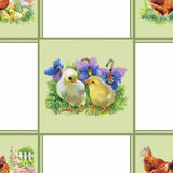 Little fluffy cute watercolor ducklings, chickens and hares with eggs seamless pattern on white background vector illustration.  Royalty Free Stock Images