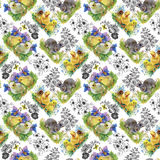 Little fluffy cute watercolor ducklings, chickens and hares with eggs seamless pattern on white background vector illustration.  Stock Photo
