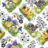 Little fluffy cute watercolor ducklings, chickens and hares with eggs seamless pattern on white background vector illustration stock illustration