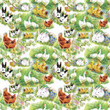 Little fluffy cute watercolor ducklings, chickens and hares with eggs seamless pattern on white background vector illustration Royalty Free Stock Image