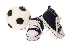 Little football fan`s equipment Royalty Free Stock Photography