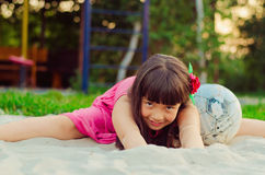 Little footballer in the sand Royalty Free Stock Photography