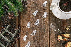 Little footprints on the table Stock Photography