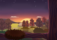 The Little Forest at Peaceful Night. Video Game`s Digital CG Artwork, Concept Illustration, Realistic Cartoon Style Background stock illustration