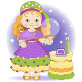 Little fortune-teller with tarot cards royalty free illustration