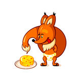 Little fox and big cheese. Little red fox adoring big piece of cheese Stock Photos
