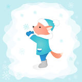 Little fox catches a snowflake in the forest. Vector illustration. The layout is perfect for design covers and postcards Stock Photo