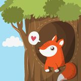 Little fox in the cave royalty free illustration