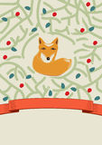 Little fox in a forest card design. Cute little brown fox in a forest depicted by intertwining branches with leaves in a pretty card design with a swirling stock illustration