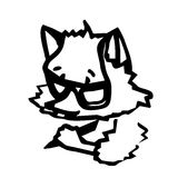 A little fox writes something with a pencil. A cartoon character Stock Photography