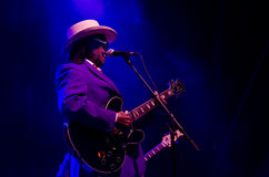 Little freddie king playing guitar Stock Photography