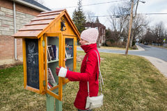 Little Free Street Library on a House Front yard in Suburb and a Stock Images