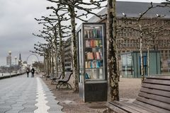 Little free street library on a sidewalk in Dusseldorf Royalty Free Stock Photography
