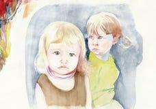 Little friends. Hand drawing picture, watercolors technique - two little friends Stock Photo