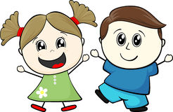 Little friends. Cartoon illustration of two happy little childs isolated on white background vector illustration