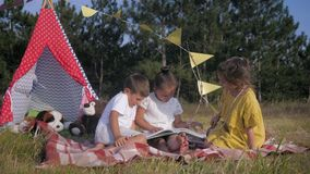 Little friends read in nature, cute kids together reading children book while having fun outdoors on background of stock video